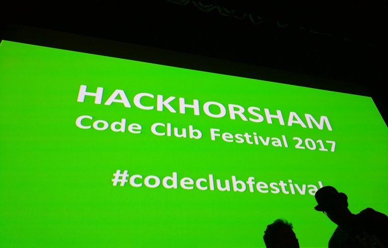 Hackhorsham Code Club Festival 2017, big projection