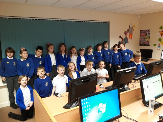 Young students in a computer lab