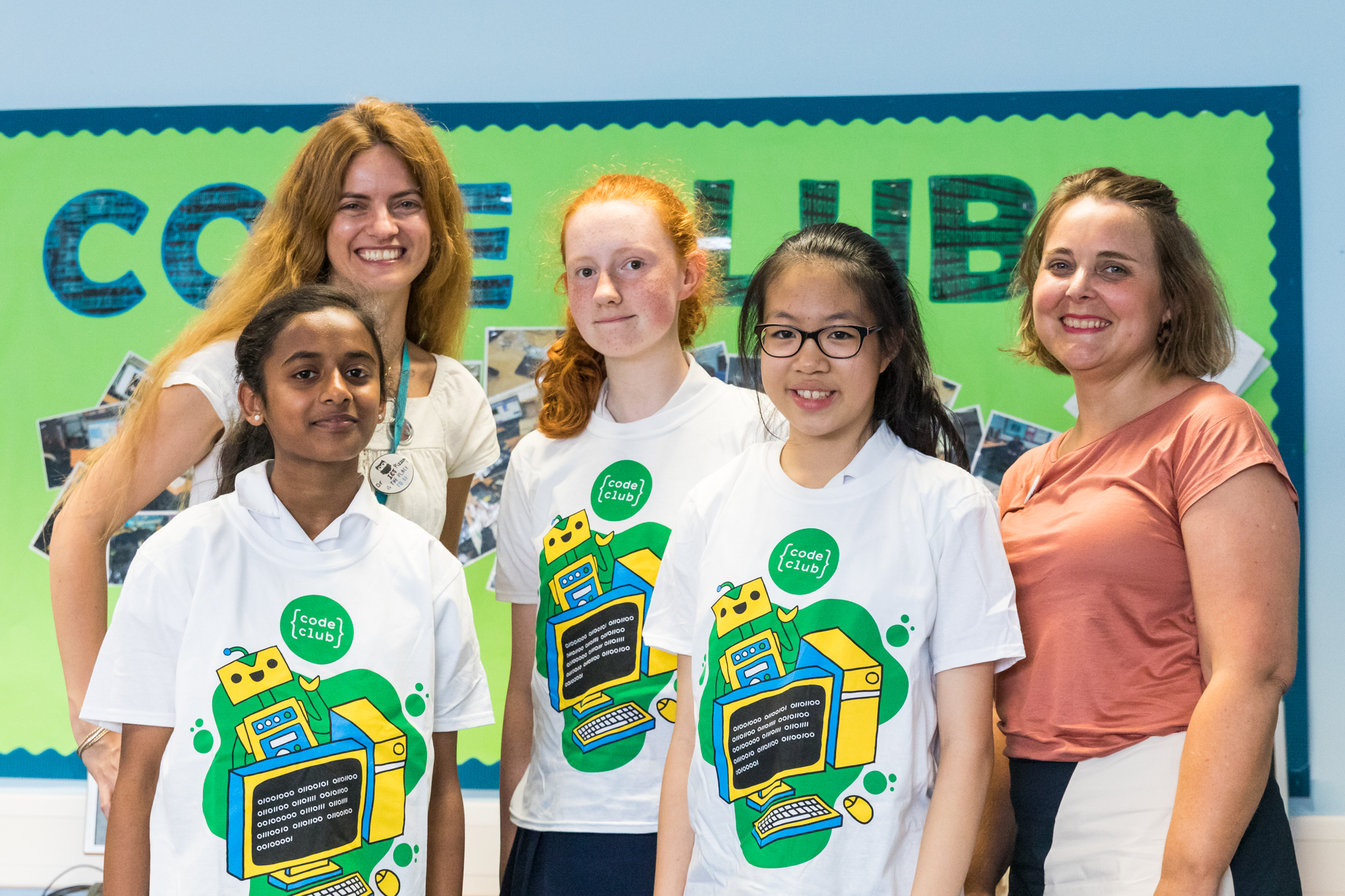Sophie, Arani, and Emily with their teacher Ms Pizzorni and Zoe from Code Club.