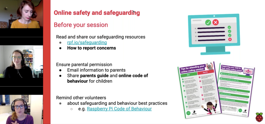 A screen grab with Kat, Christina, and Nuala next to a slide sharing online safety and safeguarding